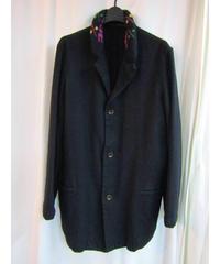 美品 yohji yamamoto pour homme しゅくじゅ黒襟ニットデザインジャケット