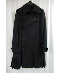 yohji yamamoto +noir 裾プリーツデザインハーフコート