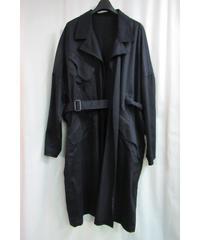 17aw B yohji yamamoto noir ボタンレスデザインベルトコート NK-C54-008