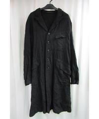 16aw yohji yamamoto pour homme 黒 リエ シワ加工デザインロングジャケット