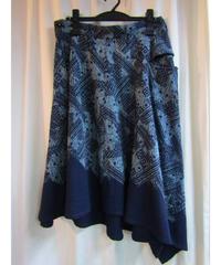 Y's yohji yamamoto femme スカートアシメトリー総柄デザインスカート
