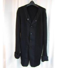 02aw yohji yamamoto pour homme ギャバ切替えデザインロングニットジャケット