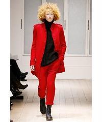 07aw yohji yamamoto pour homme  赤 縮絨 ミリタリーデザインロングジャケット