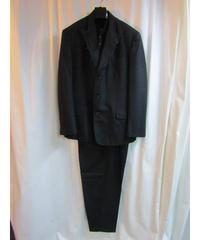 オールド yohji yamamoto pour homme 鹿鳴館期 グレーストライプダメージ加工ベスト 付きセットアップスーツ