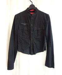 Y's yohji yamamoto femme 黒 ミリタリースタンドカラーシャツジャケット