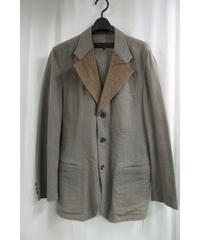 AD2002 COMME des GARCONS 茶 襟切替えデザインジャケット HG-J014