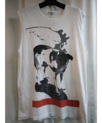 10ss yohji yamamoto pour homme プリントノースリーブTシャツ② HJ-T84-068