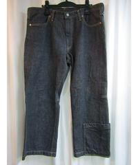 yohji yamamoto POUR HOMME 裾ポケットデザインブラックデニムパンツ HJ-P47-008