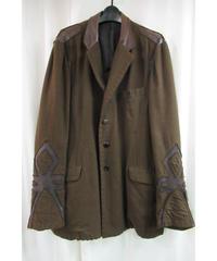 03aw yohji yamamoto pour homme 茶 レザー切替えデザインジャケット
