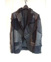 Y`s yohji yamamoto femme 黒 レザーダメージ加工パッチワークジャケット