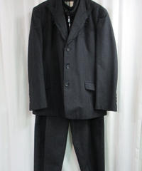 95aw yohji yamamoto pour homme vintage 鹿鳴館期 グレーストライプダメージ加工ベスト付セットアップ