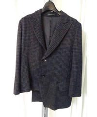 yohji yamamoto famme チャコールグレー千鳥変形アシンメトリーデザインジャケット