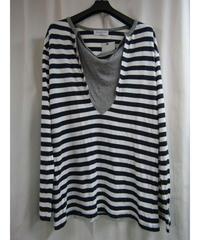 15ss yohji yamamoto pour homme ストライプデザインTシャツ