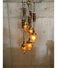 ヴィンテージ アンバーガラス 5灯 ペンダントランプ
