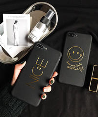 mb-iphone-02348  ブラック スマイル  ニコちゃん  NICE  iPhoneケース