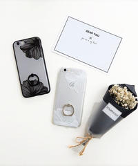 mb-iphone-02271 シンプルデザイン フラワー柄 バンカーリング付き  半透明 iPhoneケース
