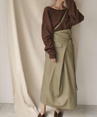 bottoms-04009 日本製 カツラギ ワンショルダーストラップ ラップスカート カーキベージュ ブラウン