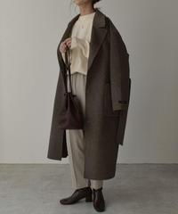 coat-02031  カシミア混 ウールコート リバー仕立て ココアミックス