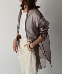 tops-04026 日本製 オーガンジー シアーシャツ ブラウン