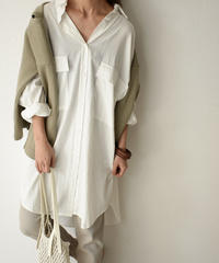 tops-02152 ビッグポケットデザイン ルーズシャツ オフホワイト
