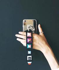 mb-iphone-02246 スタッズ付きストラップ メタリックシルバー  iPhoneケース