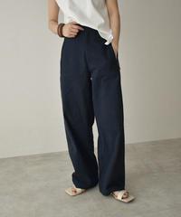 bottoms-02105 サイドベルト セミワイド パンツ ネイビー