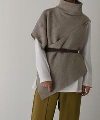 knit-02082 アシンメトリー 変形 ニット ベスト モカ グレー ブラック