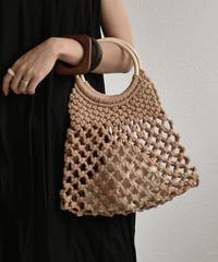 bag2-02461 サークルウッドハンドル ネットバッグ 巾着付き アイボリー ブラウン ブラック
