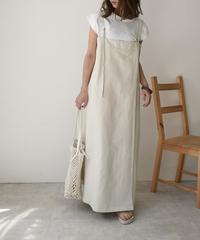 Mサイズのみ6月中旬~6月下旬入荷分 予約販売 onepiece-04020 日本製 リネンデニム ジャンパードレススカート 生成り