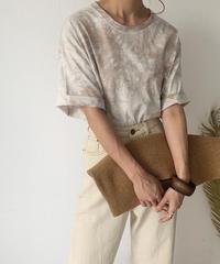 6月上旬~中旬入荷 予約販売 nh-tops-02161 タイダイ染 ボーイフレンドTシャツ エクリュ×モカベージュ