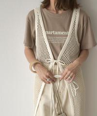 nh-tops-02166 クルーネック テキストTシャツ ホワイト モカ