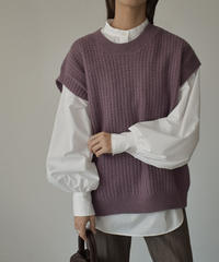 knit-02096 ケーブル柄クルーネックベスト パープル ミント グレー オフホワイト