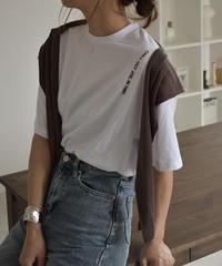 nh-tops-02168 クルーネック バーティカル ロゴ Tシャツ ホワイト ブラック