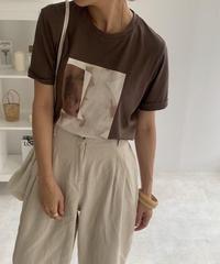 nh-tops-02170 アートTシャツ オフホワイト ベージュ モカブラウン