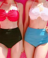 swim-02141 スカラップ バイカラー ホルターネック ビキニ なみなみカット 水着 スイムウェア ハイウエストパンツ レッド ホワイト 2点セット