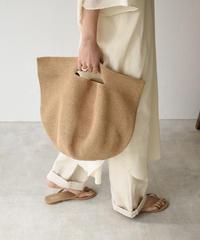 6月上旬入荷分 予約販売 bag2-02496 ハーフムーン ラフィア カゴバッグ