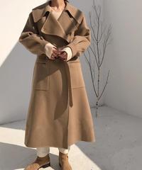 coat-02004 ロング ウールガウンコート リバー仕立て ミルクティーベージュ キャメル