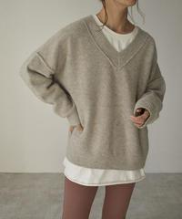 knit-02099 ウール混 Vネック アウトシームデザイン ニット ブラウンミックス グレージュミックス