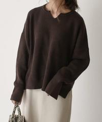 knit-02047 スリットスリーブ キーネックニットトップス チョコレートブラウン