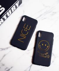mb-iphone-02397 iPhoneX ブラック スマイル ニコちゃん NICE iPhoneケース