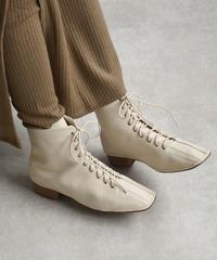 shoes-02091 エコレザー スクエアトゥレースアップブーツ アイボリー ブラック