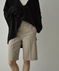 nh-bottoms-02122 センタープレス ハーフパンツ グレージュ ブラック