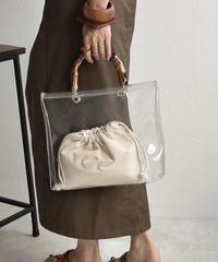 bag2-02460 バンブーハンドル クリアバッグ 巾着付き