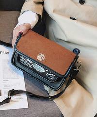 bag2-02431 パイソンポケット バイカラーショルダーバッグ