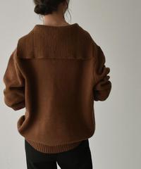 knit-02108     セーラーカラーニット プルオーバー ネイビー ブラウン