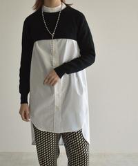 knit-02125 ショート丈 クルーネックニット オフホワイト グレー ブラック