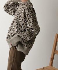 knit-02051 レオパード柄 ニットプルオーバー