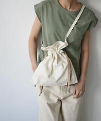 nh-bag2-02499 日本製 レッドクロス コットンヘリンボーン エプロン巾着バッグ