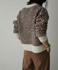 1月下旬入荷分 予約販売 knit-02124 ジャガード クルーネック ニット ネイビーミックス グレーミックス