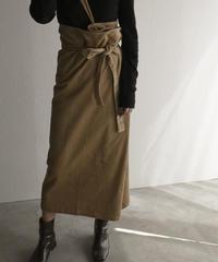 bottoms-04008 日本製 コーデュロイ ワンショルダーストラップ ラップスカート ベージュ ブラウン